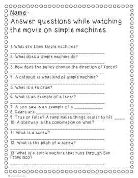Video Worksheet Bill Nye Simple Machines by Endeavors in ...