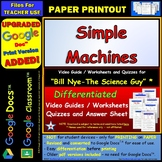 Differentiated Video Worksheet, Quiz & Ans. for Bill Nye - Simple Machines *
