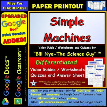 bill nye simple machines worksheet answer by star materials teachers pay teachers. Black Bedroom Furniture Sets. Home Design Ideas