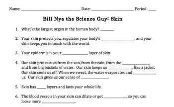 Bill Nye Skin Video Worksheet