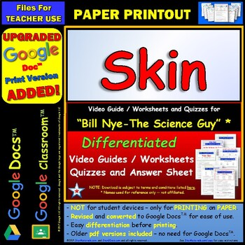 Differentiated Video Worksheet, Quiz & Ans. for Bill Nye - Skin *