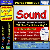 Bill Nye - Sound – Worksheet, Answer Sheet, and Two Quizzes.