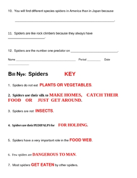 Bill Nye Spiders Video Guide Sheet