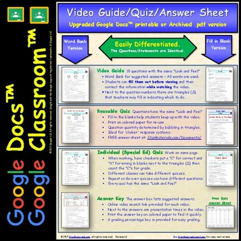 Differentiated Video Worksheet, Quiz & Ans. for Bill Nye - Spiders *
