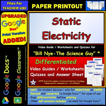 Differentiated Video Worksheet, Quiz & Ans. for Bill Nye - Static Electricity *