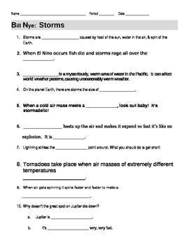 Printables Bill Nye Worksheets bill nye storms video guide worksheet by jjms teachers pay worksheet