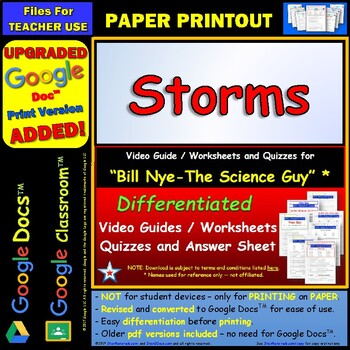 Bill Nye - Storms – Worksheet, Answer Sheet,... by Star Materials ...