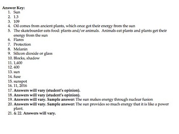 Bill Nye Sun Video Worksheet
