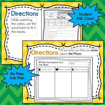Bill Nye THE MOON Video Guide, Quiz, Sub Plan, Worksheets, No Prep Lesson