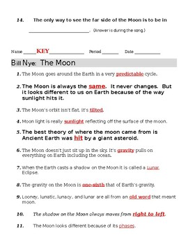 Bill Nye The Moon Video Guide