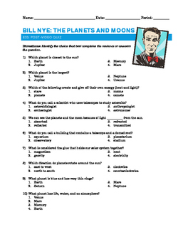 Bill Nye - The Planets and Moons – Quiz and Answer Sheet