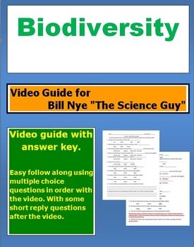 "Bill Nye ""The Science Guy"" Biodiversity video follow along sheet."