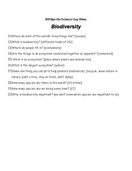 Bill Nye The Science Guy: Biodiversity with Answer Key