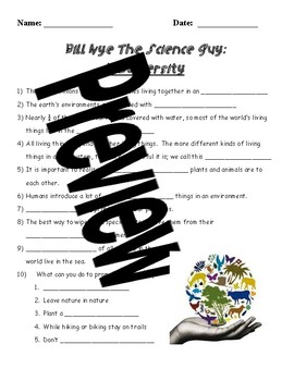 Bill Nye The Science Guy- Biodiversity worksheet with answer key