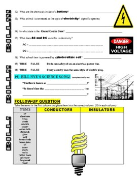 Bill Nye The Science Guy : ELECTRICITY (video worksheet)
