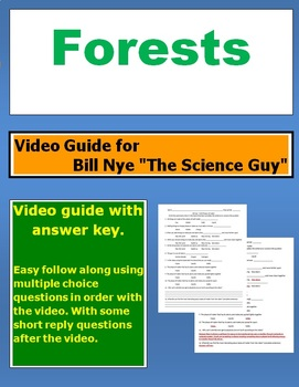 "Bill Nye ""The Science Guy"" Forests video follow along sheet."
