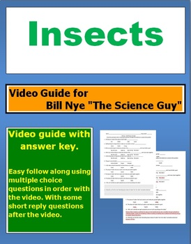 """Bill Nye """"The Science Guy"""" Insects video follow along sheet."""