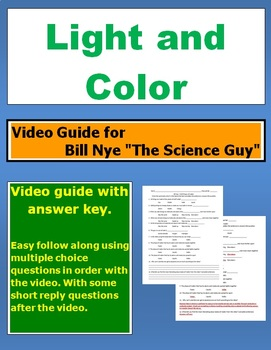 """Bill Nye """"The Science Guy""""  Light and Color video follow along sheet."""