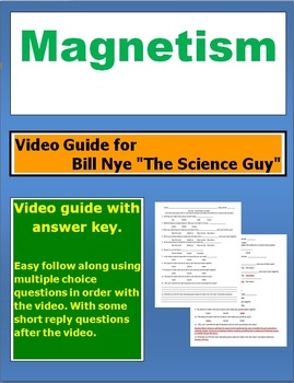 """Bill Nye """"The Science Guy"""" Magnetism video follow along sheet."""