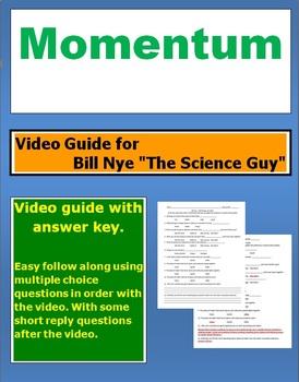 "Bill Nye ""The Science Guy"" Momentum video follow along sheet."