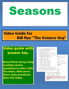 "Bill Nye ""The Science Guy"" Seasons video follow along sheet."