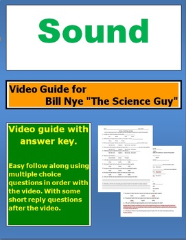 "Bill Nye ""The Science Guy"" Sound video follow along sheet."