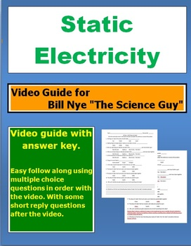 """Bill Nye """"The Science Guy"""" Static Electricity video follow along sheet."""