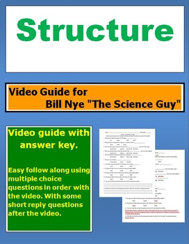 """Bill Nye """"The Science Guy"""" Structure video follow along sheet."""