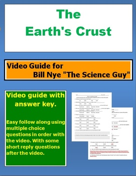 "Bill Nye ""The Science Guy"" The Earths Crust video follow along sheet."