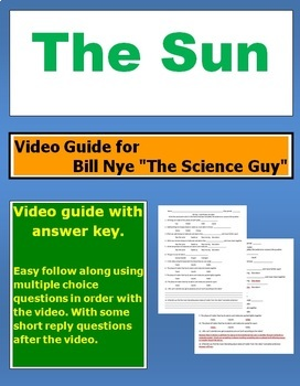 "Bill Nye ""The Science Guy"" The Sun video follow along sheet."