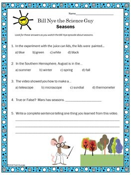 Seasons Video Response Form - Bill Nye the Science Guy