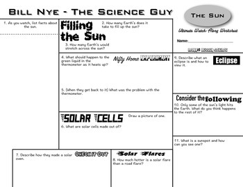 Bill Nye - The Sun - Ultimate Watch-Along Worksheet