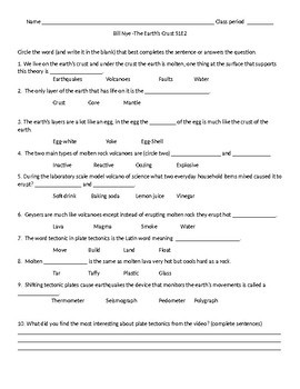 plate tectonics worksheet answer key