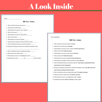 Bill Nye Video Worksheets - 20 Complete Video Companion Worksheets