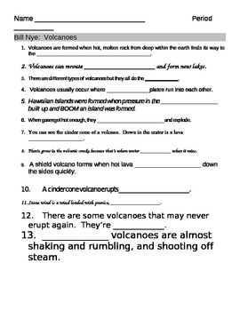 bill nye volcanoes video fill in guide sheet by jjms tpt. Black Bedroom Furniture Sets. Home Design Ideas