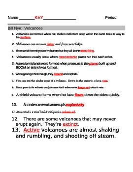 Bill Nye Volcanoes Video Fill In Guide Sheet by jjms   TpT
