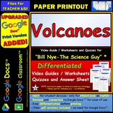 Differentiated Video Worksheet, Quiz & Ans. for Bill Nye - Volcanoes *