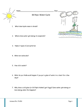 bill nye water cycle video worksheet by science etc tpt. Black Bedroom Furniture Sets. Home Design Ideas