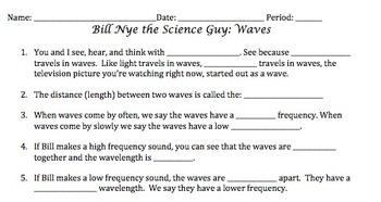 bill nye waves video worksheet by mayberry in montana tpt. Black Bedroom Furniture Sets. Home Design Ideas