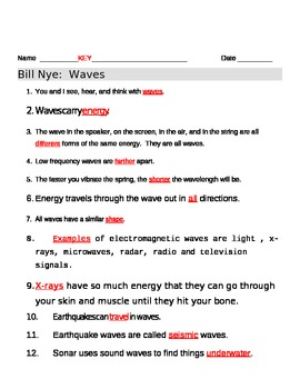 Bill Nye Waves Video Worksheet