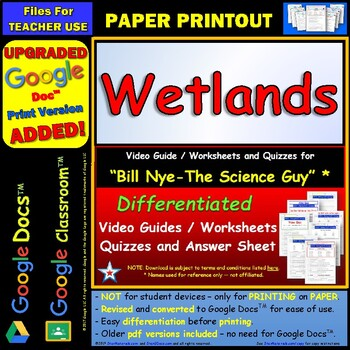 Differentiated Video Worksheet, Quiz & Ans. for Bill Nye - Wetlands *