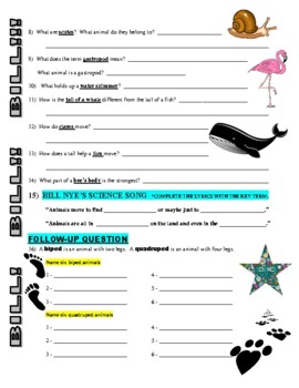 Bill Nye the Science Guy : ANIMAL LOCOMOTION (video worksheet)