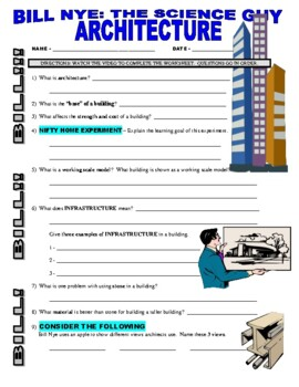 Bill Nye the Science Guy : ARCHITECTURE (technology video worksheet / STEM)