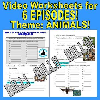Bill Nye the Science Guy : ANIMALS Set 1 (6 video worksheets mini bundle)