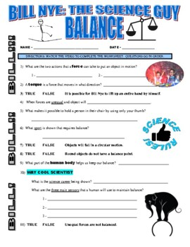 Bill Nye The Science Guy Balance (forces \u0026 Motion Video Worksheet) Force And Motion Worksheets Answer Key Forces And Motions Worksheets #17