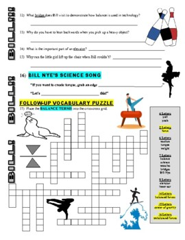 Bill Nye the Science Guy : BALANCE (forces & motion video worksheet)