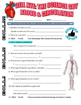 Bill Nye the Science Guy : BLOOD & CIRCULATION (video worksheet)