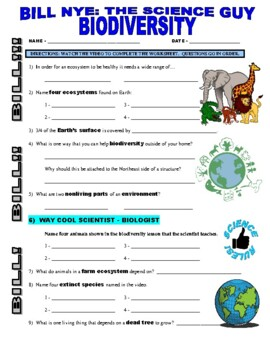 bill nye the science guy biodiversity nature environment video worksheet. Black Bedroom Furniture Sets. Home Design Ideas