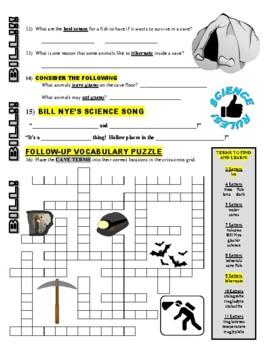 Bill Nye the Science Guy : CAVES (video worksheet)