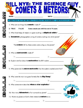 Bill Nye the Science Guy : COMETS AND METEORS (space / planets video worksheet)